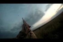 Охотник целится в пролетающих гусей