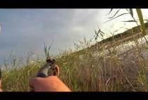 Охотник стреляет по уткам