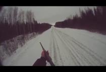 Охотник идет по лесной дороге