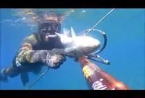 Рыбак с барракудой в руках