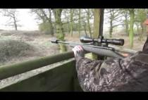 Охотник целится из карабина ан вышке