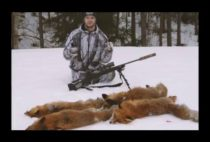 Охотник возле добытой лисы