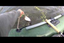 Рыбак вываживает сома
