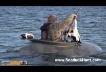 Охотник достает утку из воды